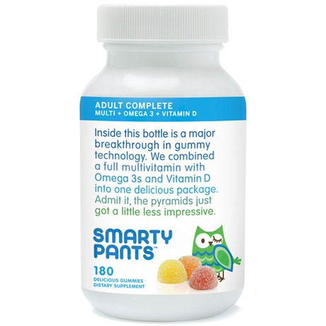 Adult Complete Gummy Vitamins (Multivitamin + Omega 3 + Vitamin D), 180 Gummies, SmartyPants Vitamins