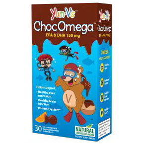 ChocOmega Chewable Omega-3 for Kids, EPA & DHA 150 mg, 30 Pieces, Yum-V's Complete