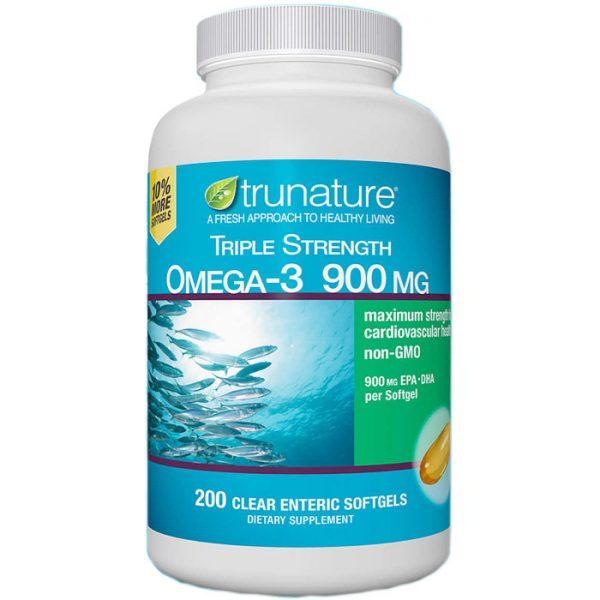 TruNature Triple Strength Omega-3 900 mg, 200 Clear Enteric Softgels
