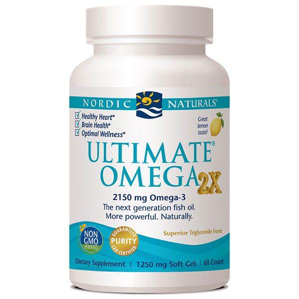 Ultimate Omega 2x, More Powerful Omega-3 Fish Oil - Lemon, 60 Softgels, Nordic Naturals