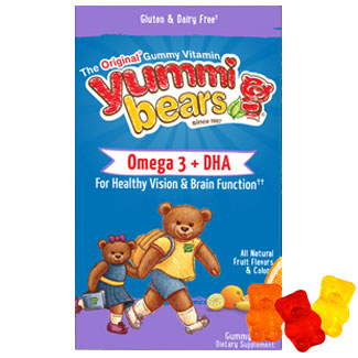 Yummi Bears Omega-3 + DHA for Kids, Natural Fruit Flavors, 90 Gummy Bears