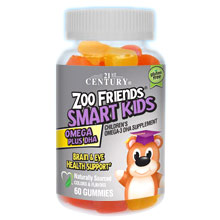 Zoo Friends Smart Kids Omega-3 + DHA, 60 Gummies, 21st Century HealthCare